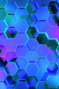 360x640 Hexagon 3d Digital Art 4k