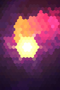 Hexagon White Yellow Red Purple Abstract
