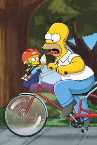 480x854 Homer Marge Bart Lisa The Simpsons Family 4k 5k