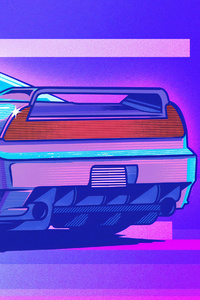 Honda Nsx Retrowave Art 4k