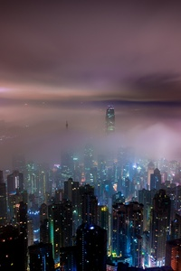 1440x2560 Hong Kong Buildings Night Lights Mist