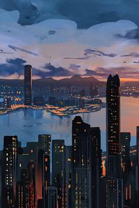 1242x2688 Hong Kong City Pain Art 5k