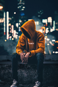 240x400 Hoodie Anonymus Boy Sitting Aside 4k
