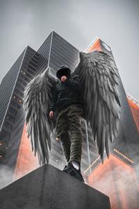480x854 Hoodie Boy Angel 4k