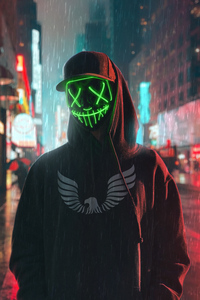 1080x2280 Hoodie Boy Green Glowing Mask 4k