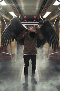 750x1334 Hoodie Boy Wings 4k