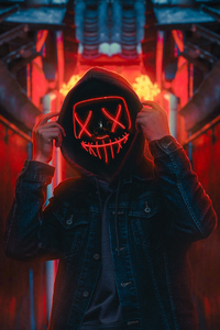 Hoodie Guy Red Neon Light 4k