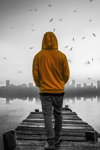 480x800 Hoodie Guy Walking Towards Pier 4k