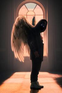 750x1334 Hoodie Guy With Wings 4k