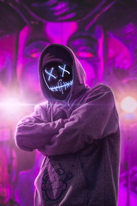 Hoodie Neon Guy Abstract 4k
