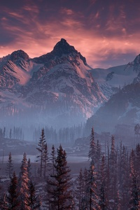 240x400 Horizon Zero Dawn Nature Mountains Trees Sky 4k