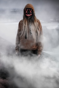 320x480 Horror Girl Mask Smoke 4k