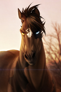 2160x3840 Horse Glowing Eyes