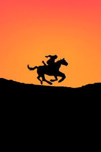 640x1136 Horse Minimal Sunset 4k