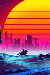 2160x3840 Horse Rider Cyberpunk 4k