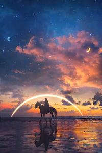 1242x2688 Horse Rider Sunset Beach Side Artwork