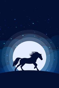 2160x3840 Horse Silhouette Digital Art