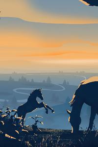 2160x3840 Horses Dawn Minimal 4k
