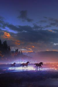 Horses Running Dreamy Scenery