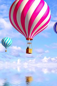2160x3840 Hot Air Balloon People Illustrator 4k