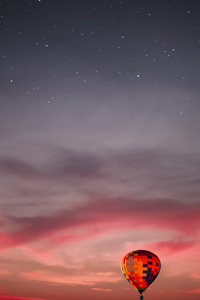 1125x2436 Hot Air Balloon Red Sky 4k