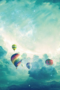 2160x3840 Hot Air Balloons Sky Dreamy 4k