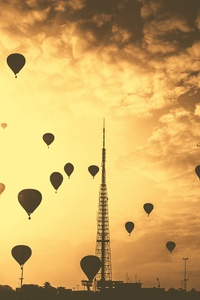 1440x2560 Hot Air Balloons Tower Orange Contrast Clouds 5k