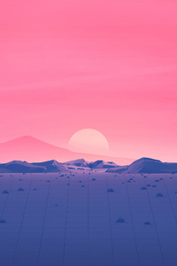 Hotizons Sunset Polygon Surface Mountains 4k Minimalism