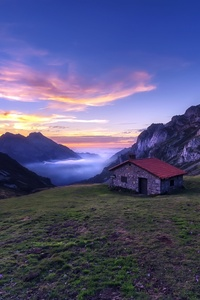 House In The Mountains Sunlight Nature Landscape