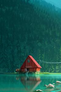 House In Woods Minimalism Artwork
