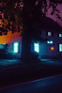 1242x2688 House Night Lights 4k