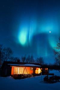 House Under Aurora Northern Lights