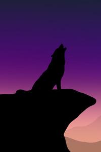 Howling Wolf Minimalism 4k