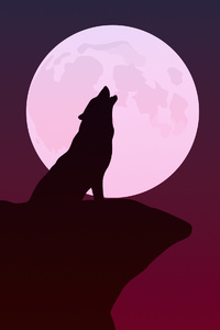 Howling Wolf Minimalist 4k