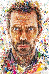 Hugh Laurie In House Tv Show Abstract Artwork 8k