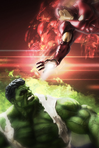 1125x2436 Hulk And Iron Man Art