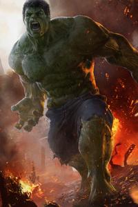 720x1280 Hulk Doing Destruction Artwork