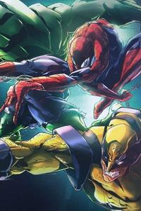 Hulk Spider Man Wolverine 8k