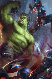 2160x3840 Hulk V Captain America