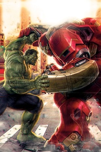 1440x2960 Hulk Vs Iron Hulkbuster Artwork