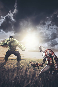 1080x2160 Hulk Vs Kratos