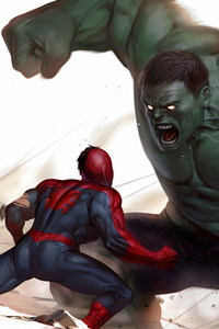 Hulk Vs Spiderman 4k Art