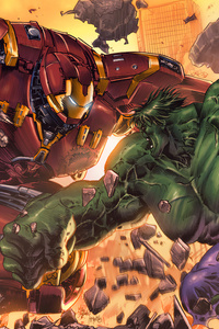2160x3840 Hulkbuster Vs Hulk Art 5k