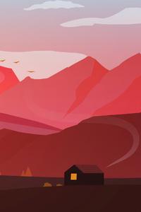 240x320 Hut House Landscape Minimal Early Morning 4k