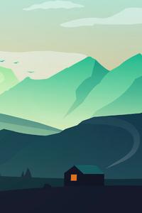 240x320 Hut House Landscape Minimal Morning 4k