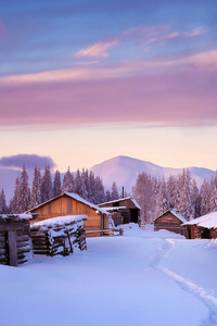 1080x2280 Huts Covered In Snow 4k
