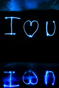 1080x2280 I Love You Light Streaks Long Exposure