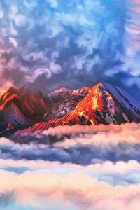 Illustration Artwork Sky Mountains Clouds 4k