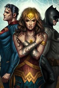 720x1280 Illustration Of Wonder Woman Superman And Batman From Batman V Superman