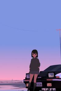 1440x2960 Initial D Trueno Anime Police Girl 8k